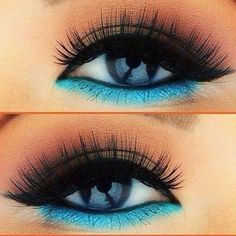 Bright teal blue eye liner