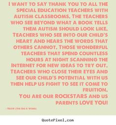 Thank You Special Needs Teacher Quotes Popular Items For Quotes