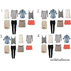 Capsule wardrobe / packing light needn't be hard: 4 tops that all pair well with 4 bottoms = 16 different outfits. Dress up with scarves, statement necklaces, etc. Travel Packing Outfits, Travel Capsule, Travel Wardrobe, Capsule Wardrobe, Packing Tips, Packing Clothes, Travel Wear, Weekend Packing, One Suitcase