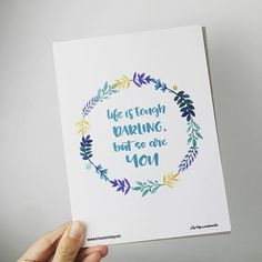 """*life is tough darling but so are you* Get this notecard by @artsunami for ur love one with us for freeshipping now!! Download shopee apps, search Craftmates, follow us, find them at """"Home"""" button for latest update!! #craftmates #craftmatesmalaysia #shopeemy #artsunami #notecard #quotecard #qotd #freeshipping"""