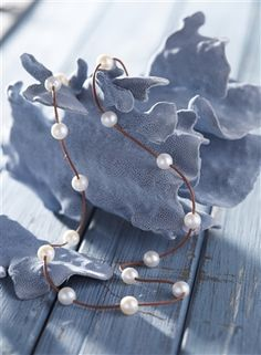 Fine Pearls and Leather Jewelry by Designer Wendy Mignot Illusion Freshwater Necklace White II