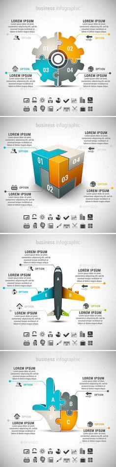 4 in 1 Business Infographics Bundle — Photoshop PSD #instruction #design • Available here → https://graphicriver.net/item/4-in-1-business-infographics-bundle/10531650?ref=pxcr