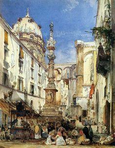 Giacinto Gigante (1806-1876) La guglia di San Gennaro, Napoli