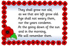 A simple poster featuring the words commonly spoken at remembrance ceremonies taken from the poem 'For the Fallen' by Laurence Binyon.