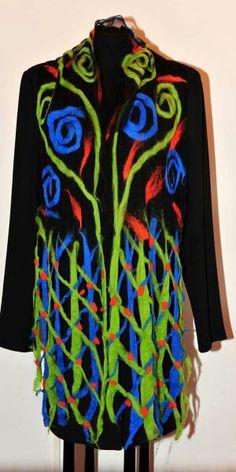 Handmade silk scarf felted with extrafine merino wool Merino Wool, Silk, Blouse, Handmade, Tops, Women, Fashion, Moda, Hand Made