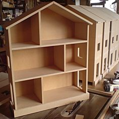 Small Handmade Childrens Nursery Dolls House Bookcase Shelves - MDF 30x24x9