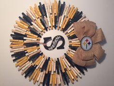 285e5a37a4c5 Pittsburgh Steelers Clothespin Wreath by PintasticWreaths on Etsy