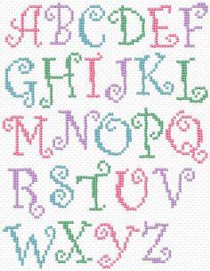 Free Printable Cross Stitch Patterns   Maria Diaz Designs: CURLY ALPHABET (Cross-stitch chart)