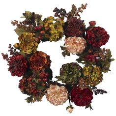 Nearly Natural Artificial Autumn Hydrangea Peony Wreath - Multicolor (£60) ❤ liked on Polyvore featuring home, home decor, floral decor, flowers / foliage, artificial flowers, decorative accents, artificial flower stems, silk flowers, fall silk flowers and fake flower bouquets