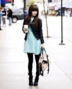 , Leather Jacket, Vintage Belt, Romwe Blue Dress, Black Tights, Romwe Bag, Modekungen Heeled Boots