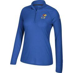 adidas Women's Kansas Jayhawks Blue Ultimate Quarter-Zip Shirt, Size: Medium, Team