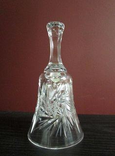 "Antique VINTAGE PINWHEEL STAR CRYSTAL GLASS DINNER BELL 6.75""!"