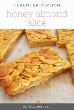 Looking for a healthy version of Honey Almond Slice? This fresh new take on a classic favourite is absolutely delicious! Almond Recipes, Baking Recipes, Cookie Recipes, Dessert Recipes, Vegan Recipes, Honey Almonds, Biscuit Recipe, Tray Bakes, Sweet Recipes