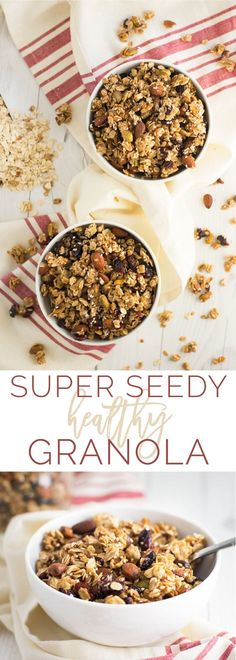 Super Seedy Healthy Granola -- This homemade granola recipe is naturally vegan, gluten-free, and only requires simple REAL ingredients. It's chunky, crunchy, nutty, and sweet all bundled into little clusters. #granola #homemade #healthy #vegan #cleaneating #recipe | mindfulavocado