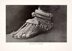 1901 Print Indian Princess Foot Jewelry Paijeb Rajkumari Anklet Toe Rings Lache | eBay