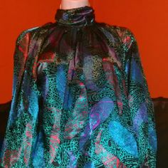 Paisley Print Blouse Sophisticated classy Style blouse designed with beautiful graphic Paisley print vibrant color can be worn to work or pair with jeans for an ultra feminine trendy look Tops Blouses