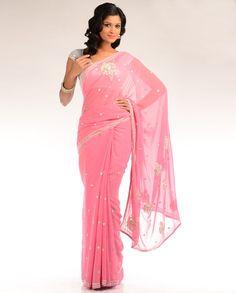 Blush Pink Embellished Sari