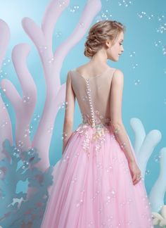Illusion neckline with soft floral embroidery and low back. Blush pink tulle dress for a princess bride | Wedding Dresses | Bridal Boutique Singapore | Wedding Gown Singapore | Wedding Dress Singapore | Wedding Packages Singapore | Wedding Gown Rental | Wedding Gown Purchase