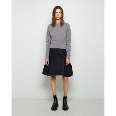 Sacai Windowpane Wool Peplum Skirt ($330) ❤ liked on Polyvore featuring skirts, sacai skirt, green skirt, green peplum skirt, navy blue skirt and wool skirt