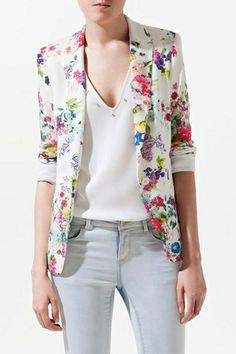 Thinking Spring! So Pretty! Floral Print One-button Plain Blazer #Pretty #Spring #Flowers #Floral #Fashion