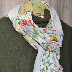 6 Vintage hankies turned into one spectacular scarf.