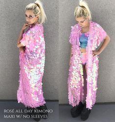 Unicorn Iridescent Sequin Kimono Long Sleeves Plus Size Crazy Outfits, Hot Outfits, Burning Man, Edc, Glitter Outfit, Sequin Kimono, Unicorn Fashion, Plus Size Kimono, Bodysuit