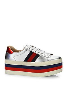 Gucci - New Ace Metallic Leather Platform Sneakers b85562c5ba70
