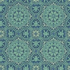 Piccadilly (94/8043) - Cole & Son Wallpapers - A large scale tiled effect design with finely a detailed circular motif. Shown in the rich teal blue green colourway. Please request sample for colour match. Paste the wall.