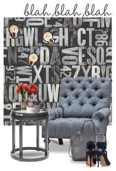 """Blah blah blah..."" by gloriettequartet ❤ liked on Polyvore featuring interior, interiors, interior design, home, home decor, interior decorating, Brewster Home Fashions, Valextra, Aquazzura and LSA International"