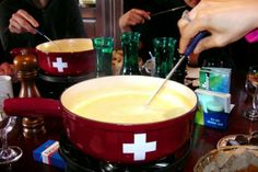 Authentic Original Traditional Swiss Fondue Old World Recipe. Fondue is a traditional Swiss dish. Not only is Switzerland known for its natural beauty, but it is also known for its incredible food. Fondue Party, Swiss Cheese Fondue, Cheese Food, Gruyere Cheese, Swiss Recipes, World Recipes, Food And Drink, Cooking Recipes, Gastronomia