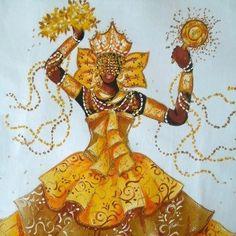 Oshun: Golden Yellow is Her Flare – BronxBeyondBorders African American Art, African Art, African Crafts, Oshun Goddess, Goddess Art, Orishas Yoruba, Yoruba Religion, African Goddess, Black Art