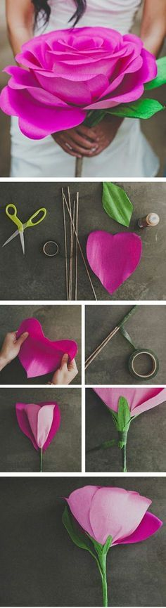 Giant Paper Rose Flower huge paper flower flowers diy crafts diy flowers easy diy kids crafts fun diy craft flowershuge paper flower flowers diy crafts diy flowers easy d. Cute Crafts, Diy And Crafts, Crafts For Kids, Arts And Crafts, Kids Diy, Giant Paper Flowers, Diy Flowers, Fabric Flowers, Flower Diy