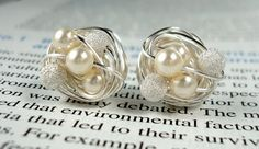 V*Dazzled Cream / Silver Star Dust - Mix It Up Series- Swarovski Glass Pearl and Stardust bead Wire Wrapped Stud Earrings
