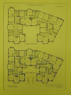 Floor Plans, Bromley Court, Cambridge, MA, 1909, Original Plan. Newhall & Blevins.