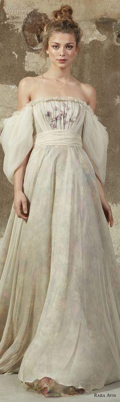 rara avis 2017 bridal puff sleeves off the shoulder straight across neckline lightly embellished bodice romantic a line wedding dress chapel train (11) lv -- Rara Avis 2017 Wedding Dresses