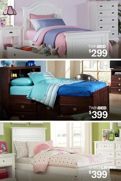 From Twin Beds starting at $299 to 5-Piece Living sets priced at $399, Kane's has youth bedroom sets in various designs and finishes that can be complimented by any color or printed comforter.