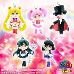 @Kristin West Moon Official Sailor Moon Swing Set 3 featuring Super Sailor Moon, Saturn, Pluto, Tuxedo Mask and Sailor Chibi Moon  http://www.moonkitty.net/reviews-buy-sailor-moon-phone-cases-straps-charms.php #SailorMoon