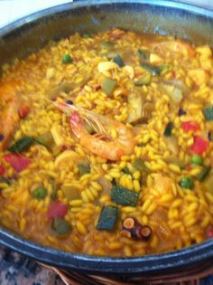 Arros con verduras y langostinos del Restaurant Can Manel