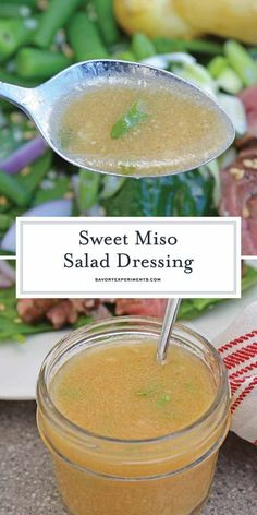 Sweet Miso Ginger Dressing is an easy Japanese ginger dressing. Now you can make… Sweet Miso Ginger Dressing is an easy Japanese ginger dressing. Now you can make your favorite miso ginger dressing at home with a handful of ingredients! Japanese Ginger Dressing, Miso Ginger Dressing, Japanese Salad, Japanese Style, Japanese Dinner, Japanese Food, Sweet Salad Dressings, Miso Salad Dressing, Salad Dressing Recipes