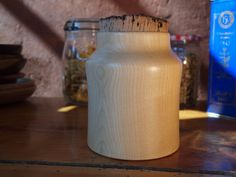 Boite en bois Mason Jar Lamp, Artisanal, Table Lamp, Decor, Tableware, Wooden Ice Chest, Decorative Objects, Corks, Table Lamps