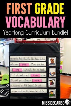 This YEAR-LONG Vocabulary Curriculum BUNDLE for first-grade includes 32 weeks of vocabulary instruction, lesson plans, activities, discussions, word play games, digital and printable books, passages, vocabulary puzzles, writing response printables for vocabulary and word application, word guides for the teacher, and assessments! #vocabulary #literacy #reading