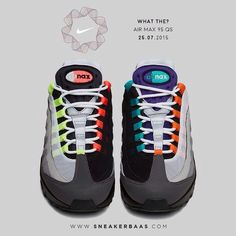 "#nikewhatthe #nikeairmax #airmax sneakerbaas #baasbovenbaas  Nike Air Max 95 QS ""What the?"" - Six classic colours are added to the iconic sneaker from 1995. The classic dark grey toebox and reflective silver upper remain."