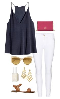 """ootd: shopping"" by helenhudson1 ❤ liked on Polyvore featuring Tory Burch, Frame Denim, H&M, Essie, Vivienne Westwood and Steve Madden"