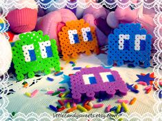PacMan Ghost Perler Bead Creations Necklace or Earrings Made to Order. $4.00, via Etsy.