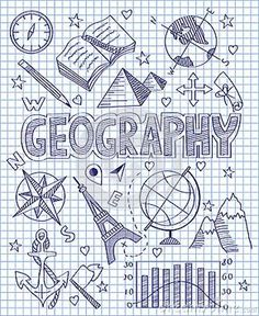 Photo about Vector illustration of Hand drawn Geography set. Illustration of direction, collection, diagram - 49512592 Decorate Notebook, Diy Notebook, Notebook Covers, Doodle Icon, Doodle Art, School Binder Covers, Diy Back To School, Middle School, High School