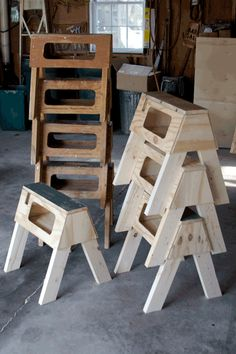 I will take a dozen! Saw Ponies - Plywood stackable short saw horses with cutting table.