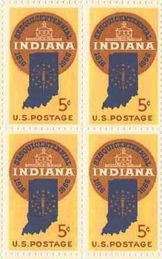 Indiana Sesquicentennial Set of 4 x 5 Cent US Postage Stamps NEW Scot 1308 . $2.50. One set of four (4)Indiana Sesquicentennial   4 x 5 Cent postage stamps Scot #1308