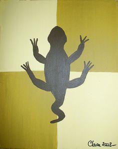 Vanilla Lezard painting / Lézard vanille - 40x50 cm (toile acrylique) ©Claire Pimenta de Miranda/Toilesurlatoile  https://www.facebook.com/photo.php?fbid=121726624511966=a.121726447845317.15870.121699184514710=3