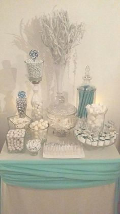 Dessert table at a Winter Office Party!  See more party ideas at CatchMyParty.com!  #partyideas #winter