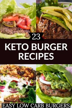 How do you like your keto burger? With cheese? Wrapped in lettuce or with a portobello mushroom bun? This collection of keto hamburger recipes has you covered! Ground Beef Burger Recipe, Ground Chicken Burgers, Turkey Burger Recipes, Turkey Burgers, Veggie Burgers, Low Carb Burger, Keto Burger, Low Carb Keto, Burger Bun